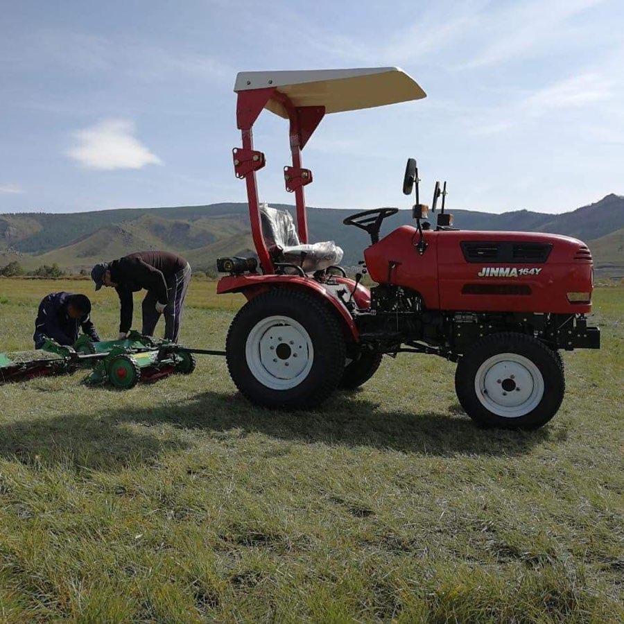 Tulga and Davaa Cutting Grass