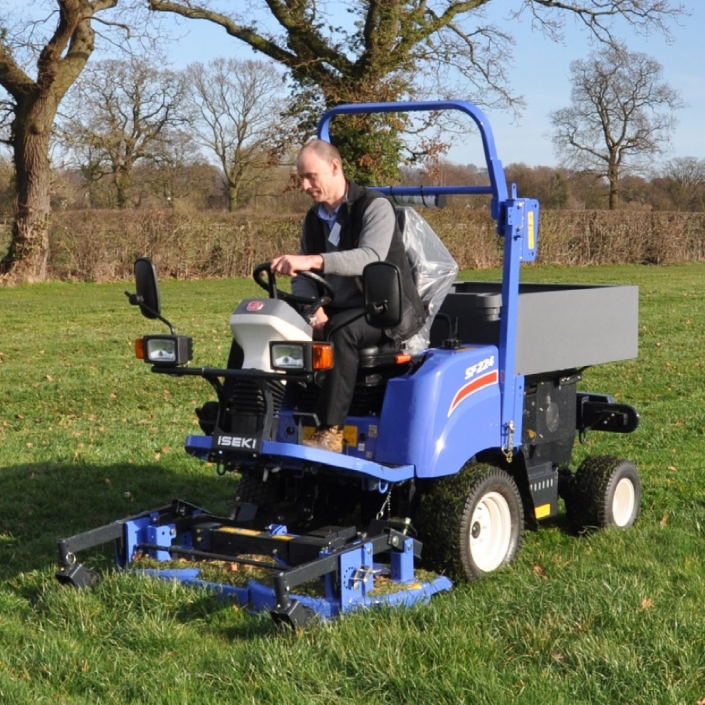 Iseki SF224 and SF235 Utility Mower with Tipping Storage Box