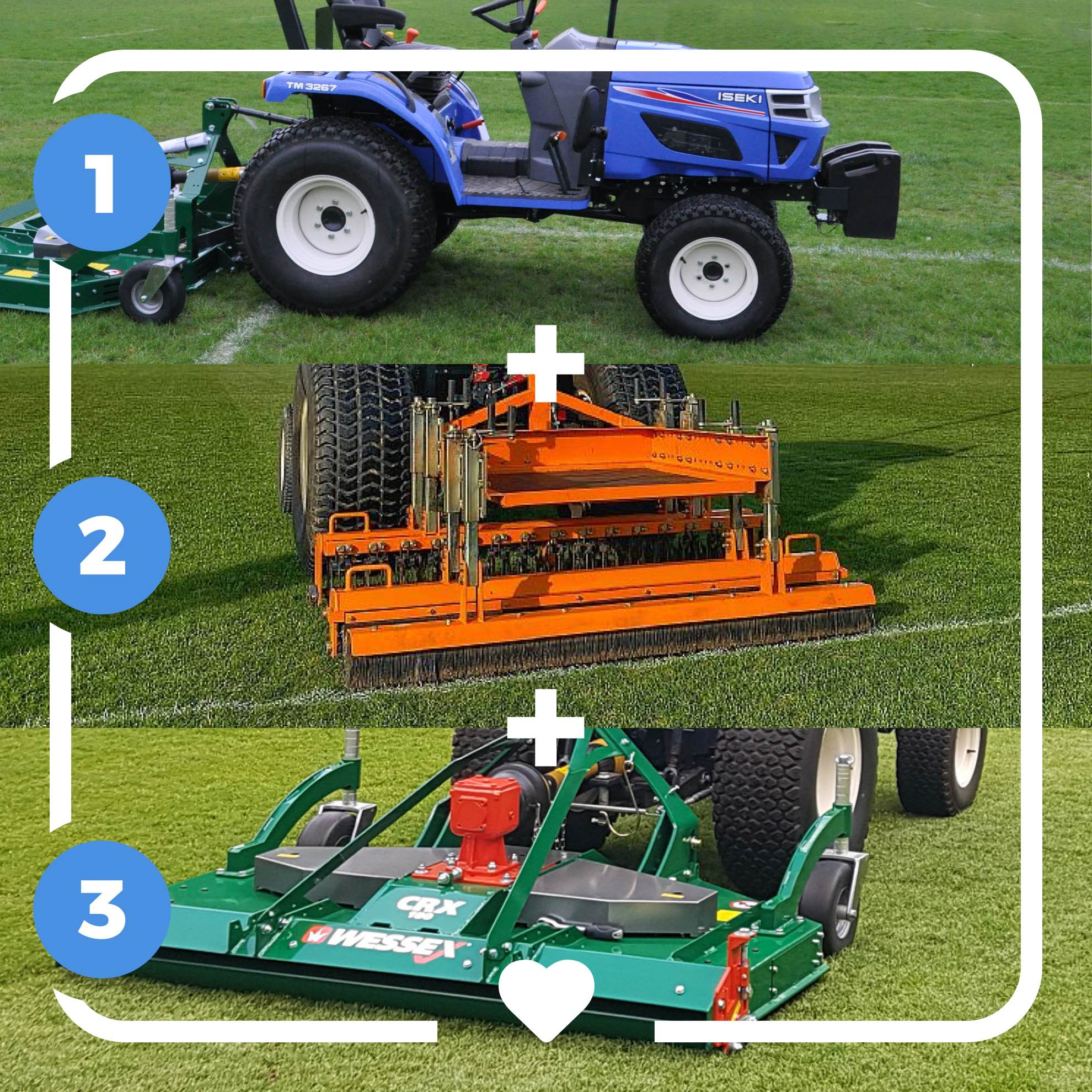 Perfect Pitch Combo: Iseki TM3267, Sisis Quadraplay and Wessex Roller Mower